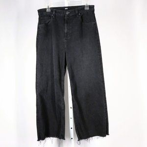 BDG Denim Black Flood Frayed Hem Jeans